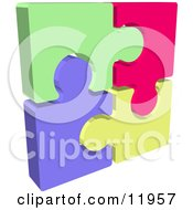 Completed Colorful Jigsaw Puzzle Clipart Illustration