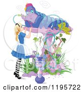 Cartoon Of Alice In Wonderland Looking Up At The Caterpillar Smoking On A Mushroom Royalty Free Vector Clipart by Pushkin