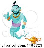 Cartoon Of A Happy Green Genie Pointing And Floating Over His Lamp Royalty Free Vector Clipart