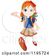 Cartoon Of A Happy Red Haired School Girl Holding Up A Hand And Walking Forward Royalty Free Vector Clipart