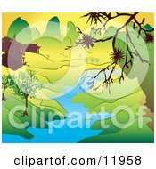 Japanese Landscape With Mountains Buildings And A River Clipart Illustration by AtStockIllustration