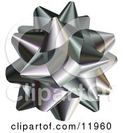 Silver Gift Bow Clipart Illustration