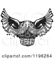 Clipart Of A Winged Day Of The Dead Skull Black And White Woodcut Royalty Free Vector Illustration