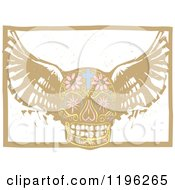 Winged Day Of The Dead Skull Woodcut