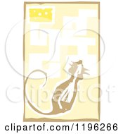 Clipart Of A Woodcut Mouse In A Maze With Cheese As The Reward Royalty Free Vector Illustration