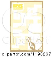 Clipart Of A Woodcut Sniffing Mouse In A Maze With Cheese As The Reward Royalty Free Vector Illustration