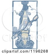 Clipart Of A Woodcut Eskimo Kayaking Through Ice Royalty Free Vector Illustration