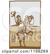 Clipart Of A Woodcut Cowboy Holding Up His Hat On A Rearing Horse Royalty Free Vector Illustration