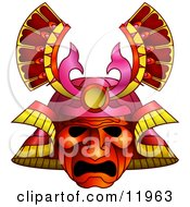 Asian Samurai Warrior Mask Clipart Illustration