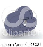 Clipart Of A 3d Cloud Computing Locked File Cabinet Royalty Free CGI Illustration