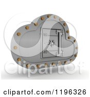 Clipart Of A 3d Silver Computing Cloud With A Safe Vault Royalty Free CGI Illustration