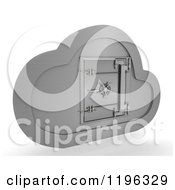 3d Silver Computing Cloud With A Safe
