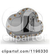 Clipart Of A 3d Silver Computing Cloud With An Open Vault Safe Royalty Free CGI Illustration