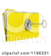 Clipart Of A 3d Secure File Folder With A Security Key And Lock Royalty Free CGI Illustration