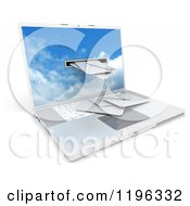 Clipart Of A 3d Laptop Computer With Mail Coming Through A Slot Royalty Free CGI Illustration