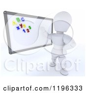Clipart Of A 3d White Character Teacher With Magnets On A White Board Royalty Free CGI Illustration by KJ Pargeter
