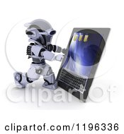 Clipart Of A 3d Robot Using A Tablet Computer Royalty Free CGI Illustration by KJ Pargeter