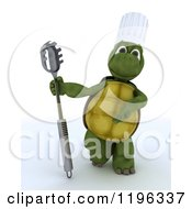 Clipart Of A 3d Tortoise Chef Presenting A Pasta Spoon Royalty Free CGI Illustration
