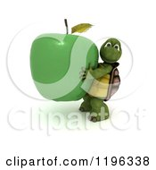 3d Healthy Tortoise Carrying A Giant Green Apple
