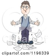 Cartoon Of A Broke Caucasian Man With Out Turned Pockets And Household Bills Royalty Free Vector Clipart
