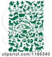 Cartoon Of Green Silhouetted Animals And Bugs Royalty Free Vector Clipart by Alex Bannykh