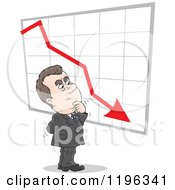 Cartoon Of A Caucasian Businessman Wondering About A Decline In Business Royalty Free Vector Clipart by Alex Bannykh