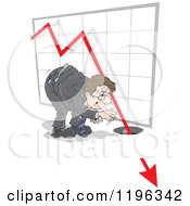 Cartoon Of A Caucasian Businessman Watching A Chart Arrow Crash Into The Ground Royalty Free Vector Clipart by Alex Bannykh