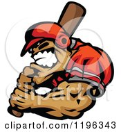 Clipart Of Am Aggressive Strong Baseball Player Holding A Bat Royalty Free Vector Illustration
