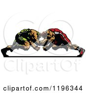 Clipart Of Two Strong Male Wrestlers In A Match Royalty Free Vector Illustration