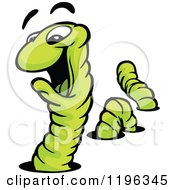 Cartoon Of A Happy Green Earthworm Going In And Out Of Holes Royalty Free Vector Clipart