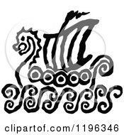 Clipart Of A Black And White Viking Ship Sketch Royalty Free Vector Illustration by Chromaco