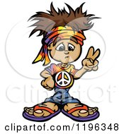 Cartoon Of A Brunette Hippie Boy Gesturing Peace Royalty Free Vector Clipart by Chromaco
