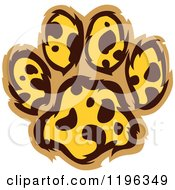 Clipart Of A Leopard Patterned Paw Print Royalty Free Vector Illustration