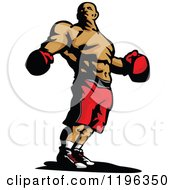 Clipart Of A Ripped Male Boxer Wearing Gloves And Shorts Royalty Free Vector Illustration by Chromaco
