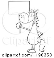 Outlined Horse Holding Up A Sign