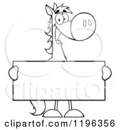 Outlined Horse Holding A Sign
