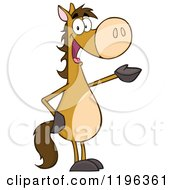 Brown Horse Standing Up And Presenting