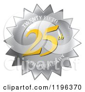 Clipart Of A Gold And Silver 25th Anniversary Seal Royalty Free CGI Illustration