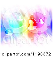 Clipart Of A Flow Chart With Networked People Over Colorful Lights Royalty Free CGI Illustration