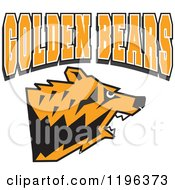 Clipart Of GOLDEN BEARS Text Over An Aggressive Bear Head Royalty Free Vector Illustration by Johnny Sajem