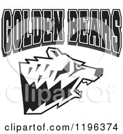 Clipart Of Black And White GOLDEN BEARS Text Over An Aggressive Bear Head Royalty Free Vector Illustration by Johnny Sajem