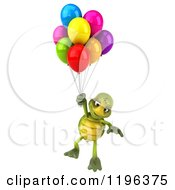 Cartoon Of A 3d Tortoise Floating With Party Balloons Royalty Free Vector Clipart