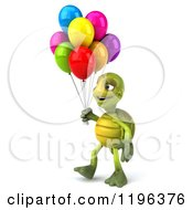 Cartoon Of A 3d Tortoise Walking With Party Balloons 2 Royalty Free Vector Clipart