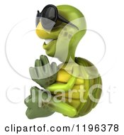 Cartoon Of A 3d Tortoise Wearing Sunglasses And Meditating 2 Royalty Free Vector Clipart