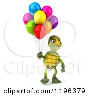 Cartoon Of A 3d Tortoise Walking With Party Balloons Royalty Free Vector Clipart