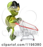Cartoon Of A 3d Tortoise Pushing A Shopping Cart 2 Royalty Free Vector Clipart
