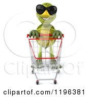Cartoon Of A 3d Tortoise Pushing A Shopping Cart Royalty Free Vector Clipart
