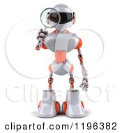 Cartoon Of A 3d White And Orange Techno Robot Using A Magnifying Glass Royalty Free Vector Clipart