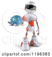 Cartoon Of A 3d White And Orange Techno Robot Holding A Glass Brain 3 Royalty Free Vector Clipart