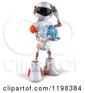 Cartoon Of A 3d White And Orange Techno Robot Holding A Glass Brain Royalty Free Vector Clipart